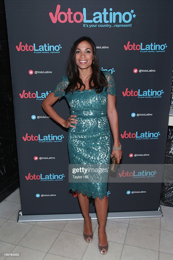 Actress <a gi-track='captionPersonalityLinkClicked' href=/galleries/search?phrase=Rosario+Dawson&family=editorial&specificpeople=201472 ng-click='$event.stopPropagation()'>Rosario Dawson</a> attends Voto Latino's 2013 Inauguration Celebration at Oya Restaurant on January 20, 2013 in Washington, DC.