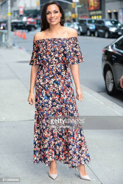 Actress Rosario Dawson enters the 'The Late Show With Stephen Colbert' taping at the Ed Sullivan Theater on April 20 2017 in New York City
