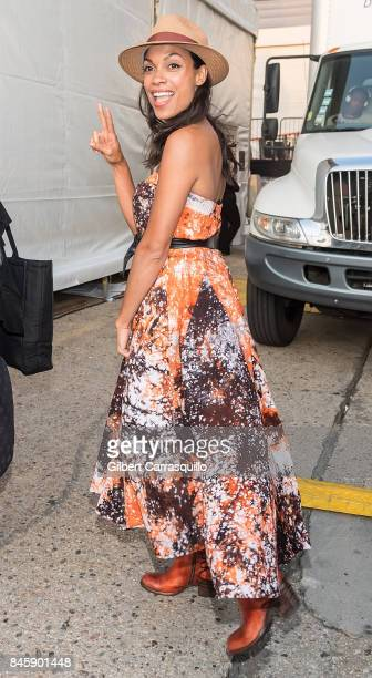 Actress Rosario Dawson is seen arriving to Anna Sui fashion show during New York Fashion Week The Shows at Gallery 1 Skylight Clarkson Sq on...