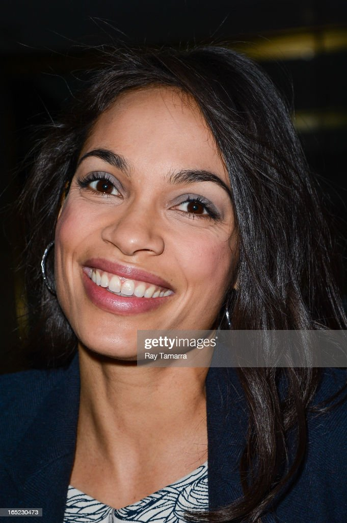 Actress <a gi-track='captionPersonalityLinkClicked' href=/galleries/search?phrase=Rosario+Dawson&family=editorial&specificpeople=201472 ng-click='$event.stopPropagation()'>Rosario Dawson</a> leaves the 'Today Show' taping at the NBC Rockefeller Center Studios on April 1, 2013 in New York City.