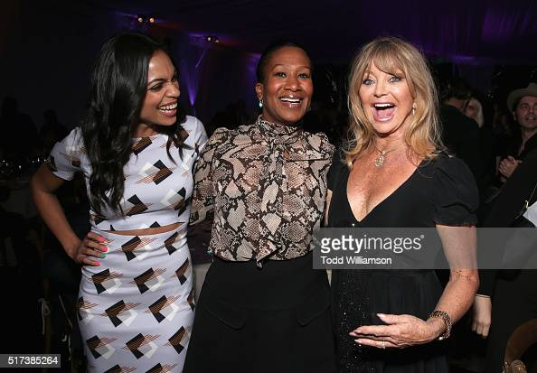 Actress Rosario Dawson Nicole Avant and actress Goldie Hawn attend UCLA IOES celebration of the Champions of our Planet's Future on March 24 2016 in...