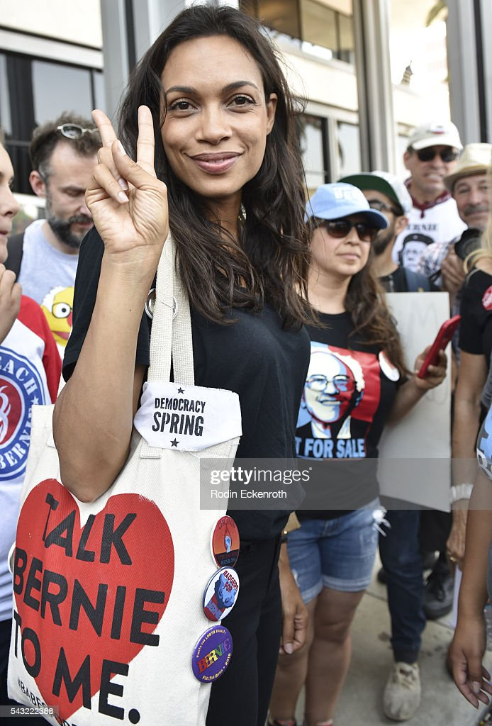 Actress <a gi-track='captionPersonalityLinkClicked' href=/galleries/search?phrase=Rosario+Dawson&family=editorial&specificpeople=201472 ng-click='$event.stopPropagation()'>Rosario Dawson</a> poses for portrait at the Team Bernie LA Rally on June 26, 2016 in Los Angeles, California.
