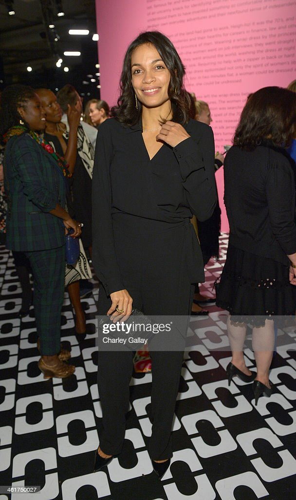 Actress <a gi-track='captionPersonalityLinkClicked' href=/galleries/search?phrase=Rosario+Dawson&family=editorial&specificpeople=201472 ng-click='$event.stopPropagation()'>Rosario Dawson</a>, Rachel Zoe (L), wearing Diane Von Furstenberg, attends Diane Von Furstenberg's Journey of A Dress Exhibition Opening Celebration at May Company Building at LACMA West on January 10, 2014 in Los Angeles, California.