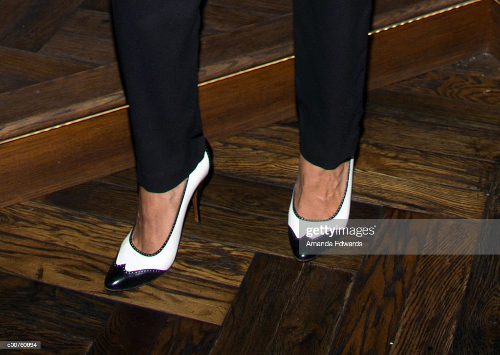 Actress Rosario Dawson, shoe detail, attends Geoff Stults' birthday party fundraiser to benefit The Charlotte and Gwenyth Gray Foundation at Rock and Reilly's Irish Pub on December 9, 2015 in West Hollywood, California.