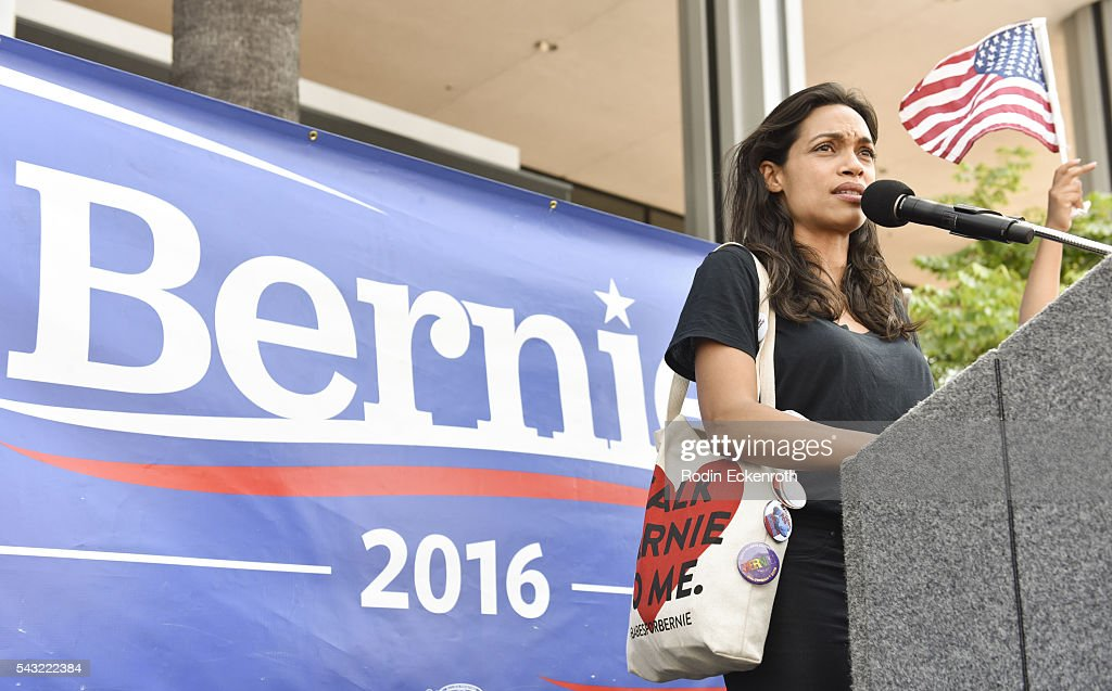 Actress <a gi-track='captionPersonalityLinkClicked' href=/galleries/search?phrase=Rosario+Dawson&family=editorial&specificpeople=201472 ng-click='$event.stopPropagation()'>Rosario Dawson</a> speaks onstage at the Team Bernie LA Rally on June 26, 2016 in Los Angeles, California.