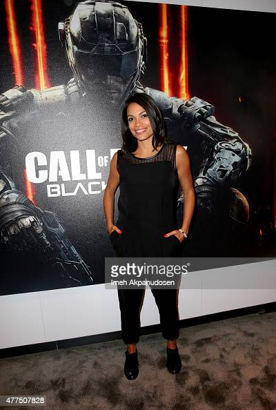 Actress Rosario Dawson visits Activision's Call of Duty Black Ops 3 booth during E3 2015 at Los Angeles Convention Center on June 17 2015 in Los...