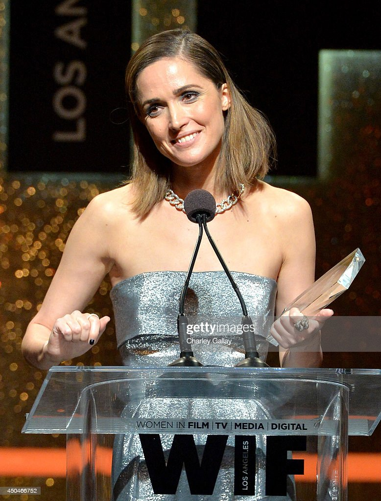Actress Rose Byrne accepts the Max Mara Face of the Future award onstage at Women In Film 2014 Crystal + Lucy Awards presented by MaxMara, BMW, Perrier-Jouet and South Coast Plaza held at the Hyatt Regency Century Plaza on June 11, 2014 in Los Angeles, California.