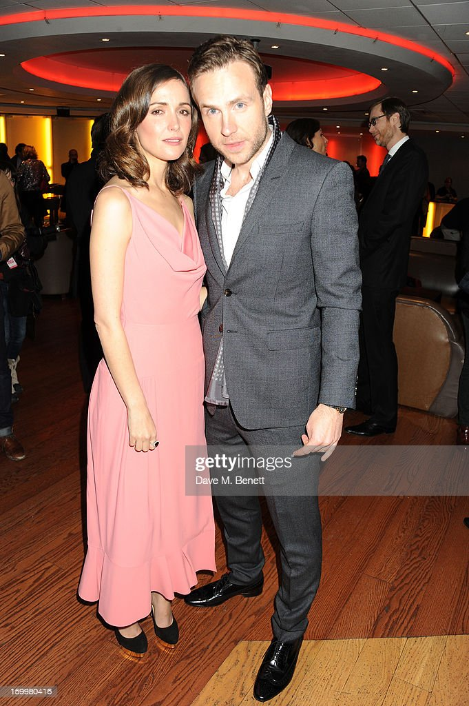 Actress <a gi-track='captionPersonalityLinkClicked' href=/galleries/search?phrase=Rose+Byrne&family=editorial&specificpeople=206670 ng-click='$event.stopPropagation()'>Rose Byrne</a> and actor Rafe Spall attend the European Premiere of 'I Give It A Year' at Vue West End on January 24, 2013 in London, England.