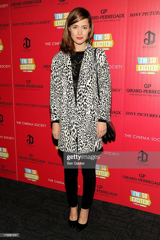 Actress <a gi-track='captionPersonalityLinkClicked' href=/galleries/search?phrase=Rose+Byrne&family=editorial&specificpeople=206670 ng-click='$event.stopPropagation()'>Rose Byrne</a> attends a screening of Sony Pictures Classics' 'I'm So Excited' hosted by Girard-Perregaux and The Cinema Society with DeLeon at Sunshine Landmark on June 6, 2013 in New York City.