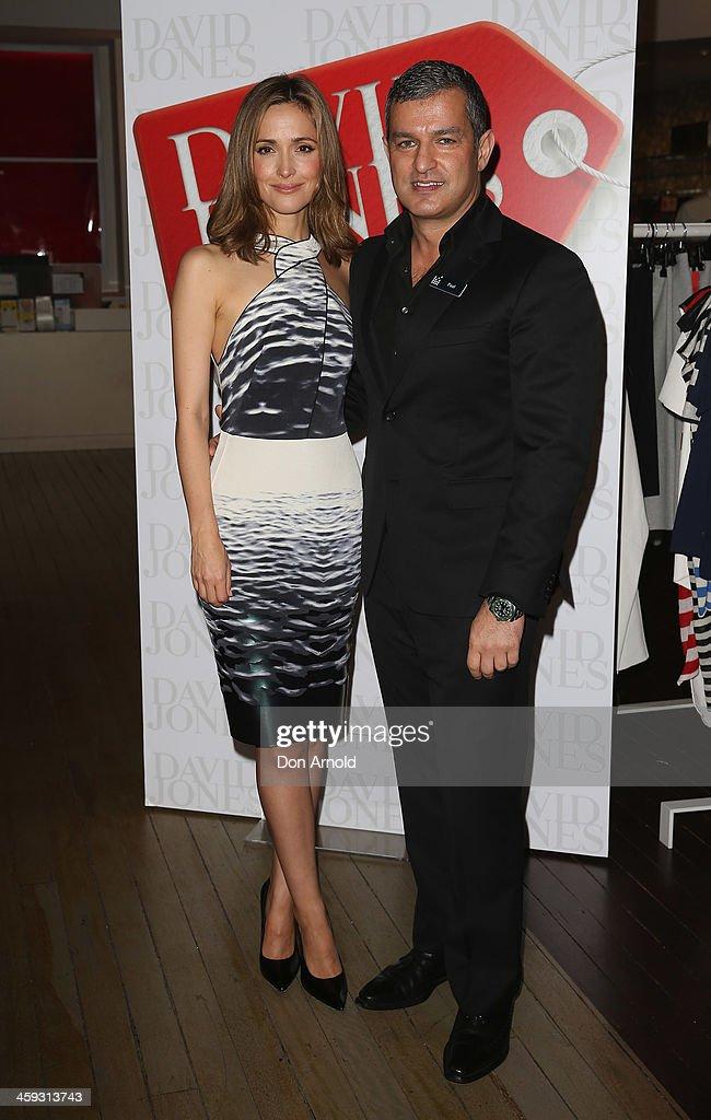 Actress <a gi-track='captionPersonalityLinkClicked' href=/galleries/search?phrase=Rose+Byrne&family=editorial&specificpeople=206670 ng-click='$event.stopPropagation()'>Rose Byrne</a> poses alongside CEO Paul Zahra (R) inside the David Jones city store just after it opened its doors for its Boxing Day sales on December 26, 2013 in Sydney, Australia. Boxing Day is one of the busiest days for retail outlets in Sydney with thousands takaing advantage of the post-Christmas sale prices.