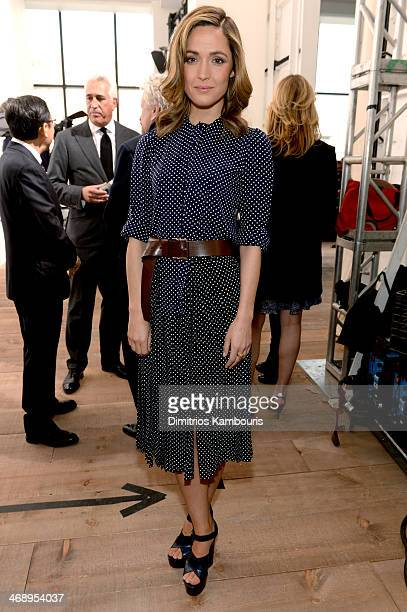 Actress Rose Byrne poses backstage at the Michael Kors fashion show during MercedesBenz Fashion Week Fall 2014 at Spring Studios on February 12 2014...