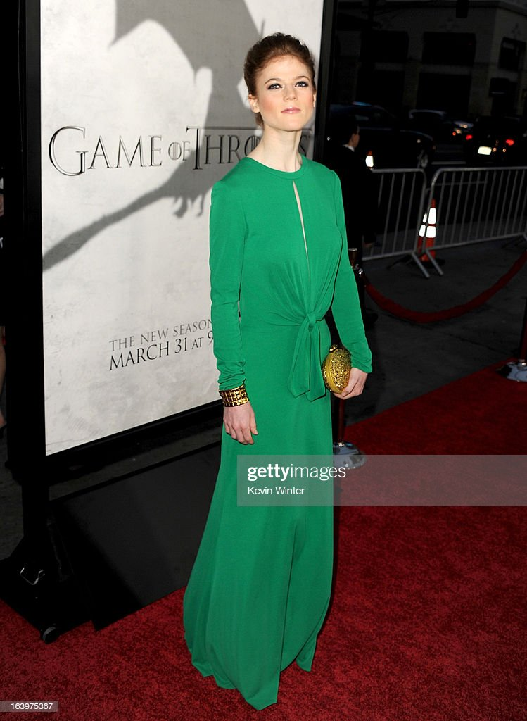 Actress Rose Leslie arrives at the premiere of HBO's 'Game Of Thrones' Season 3 at TCL Chinese Theatre on March 18, 2013 in Hollywood, California.