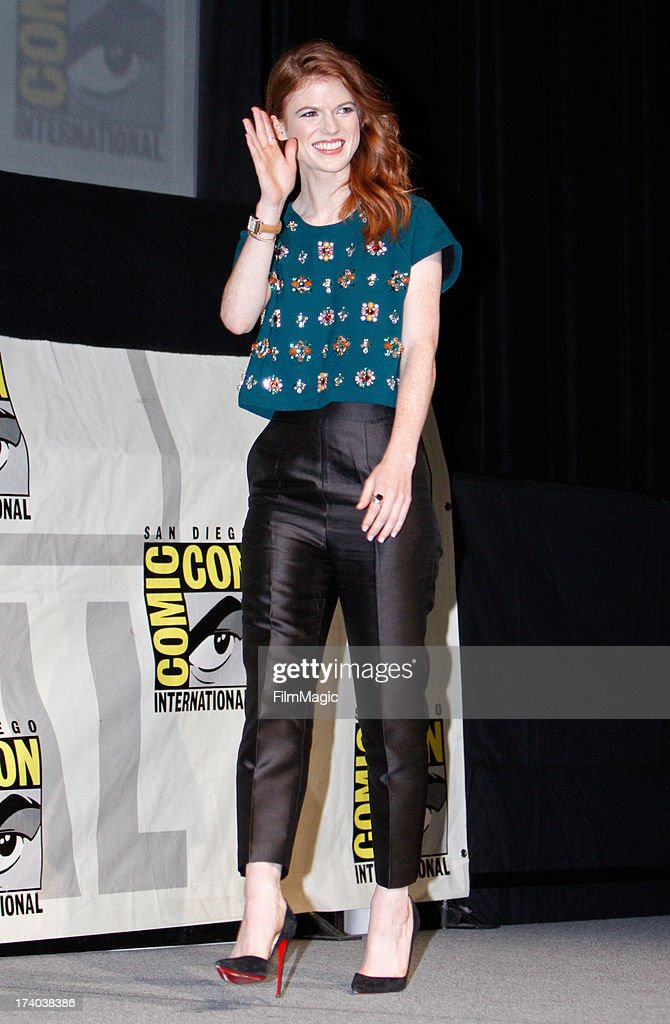 Actress <a gi-track='captionPersonalityLinkClicked' href=/galleries/search?phrase=Rose+Leslie&family=editorial&specificpeople=7275579 ng-click='$event.stopPropagation()'>Rose Leslie</a> speaks at HBO's 'Game Of Thrones' panel at San Diego Convention Center on July 19, 2013 in San Diego, California.