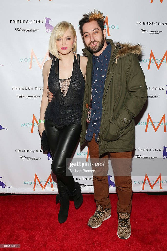 Actress <a gi-track='captionPersonalityLinkClicked' href=/galleries/search?phrase=Rose+McGowan&family=editorial&specificpeople=206451 ng-click='$event.stopPropagation()'>Rose McGowan</a> (L) and Davey Detail attend The Humane Society of the United States' To the Rescue! New York Gala After Party at SL on December 18, 2012 in New York City.