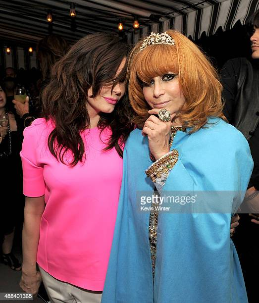 Actress Rose McGowan and Linda Ramone pose at the after party for the premiere of Tribeca Film's 'Palo Alto' at the Chateau Marmont on May 5 2014 in...