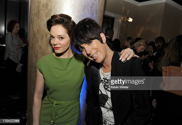 Actress Rose McGowan and songwriter Diane Warren attend Women In Film's 2013 Crystal Lucy Awards at The Beverly Hilton Hotel on June 12 2013 in...