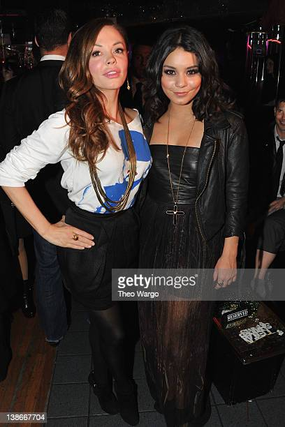 Actress Rose McGowan and Vanessa Hudgens attend Oster Media Presents Leila Shams AfterParty at The Westway on February 9 2012 in New York City