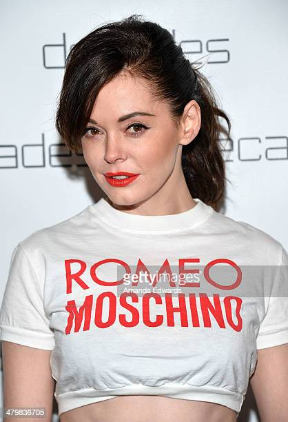 Actress Rose McGowan arrives at the Decades Les Must De Moschino event at Decades on March 20 2014 in Los Angeles California