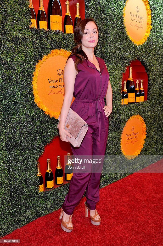 Actress Rose McGowan arrives at the Third Annual Veuve Clicquot Polo Classic at Will Rogers State Historic Park on October 6 2012 in Pacific...