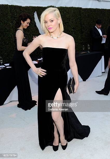 Actress Rose McGowan attends Chopard at 21st Annual Elton John AIDS Foundation Academy Awards Viewing Party at West Hollywood Park on February 24...