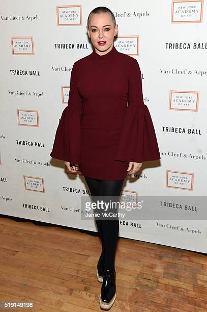 Actress Rose McGowan attends New York Academy Of Art's Tribeca Ball 2016 on April 4 2016 in New York City