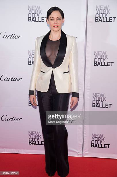 Actress Rose McGowan attends the 2015 New York City Ballet Fall Gala at the David H Koch Theater at Lincoln Center on September 30 2015 in New York...