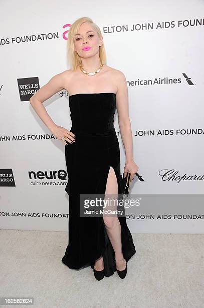 Actress Rose McGowan attends the 21st Annual Elton John AIDS Foundation Academy Awards Viewing Party at West Hollywood Park on February 24 2013 in...