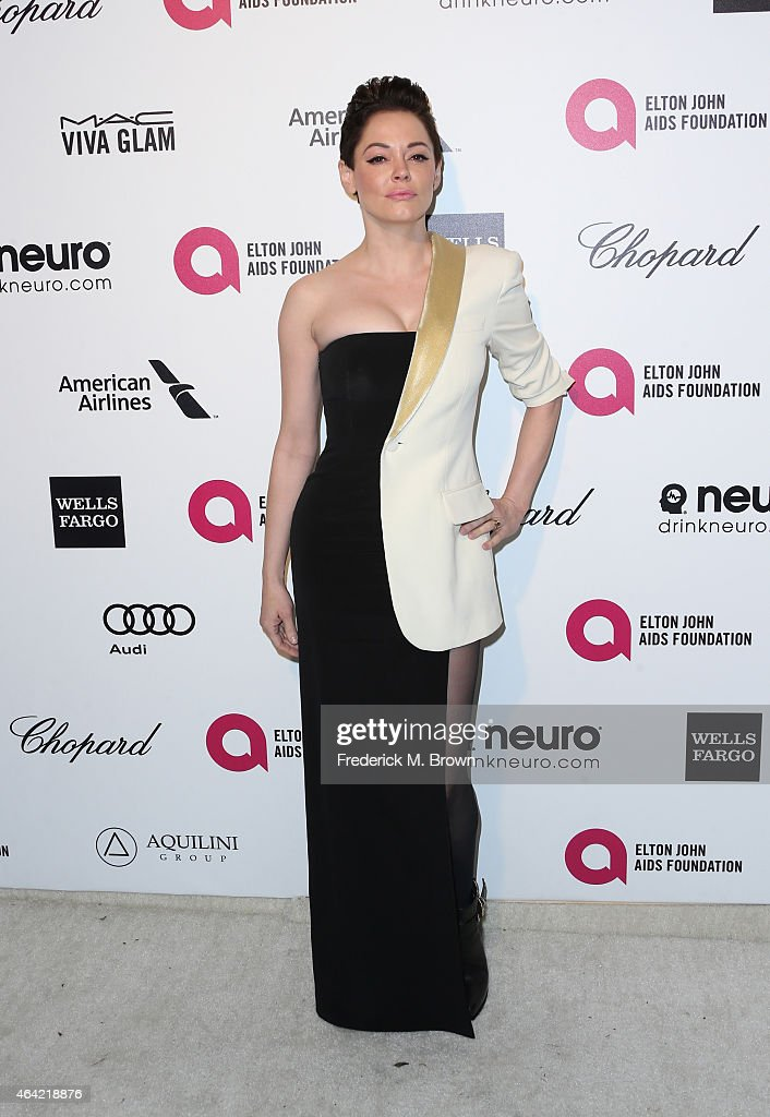 Actress <a gi-track='captionPersonalityLinkClicked' href=/galleries/search?phrase=Rose+McGowan&family=editorial&specificpeople=206451 ng-click='$event.stopPropagation()'>Rose McGowan</a> attends the 23rd Annual Elton John AIDS Foundation's Oscar Viewing Party on February 22, 2015 in West Hollywood, California.