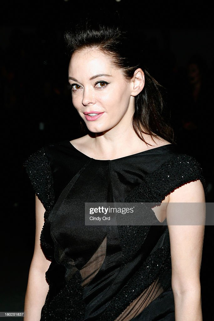 Actress <a gi-track='captionPersonalityLinkClicked' href=/galleries/search?phrase=Rose+McGowan&family=editorial&specificpeople=206451 ng-click='$event.stopPropagation()'>Rose McGowan</a> attends the Alon Livne fashion show during Mercedes-Benz Fashion Week Spring 2014 at The Studio at Lincoln Center on September 10, 2013 in New York City.