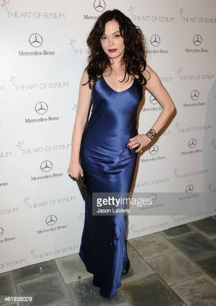 Actress Rose McGowan attends the Art of Elysium's 7th annual Heavan gala at Skirball Cultural Center on January 11 2014 in Los Angeles California