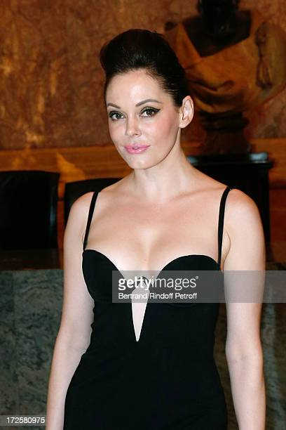 Actress Rose McGowan attends 'The Glory Of Water' Karl Lagerfeld's Exhibition Preview and Fendi new shop opening party Diner at Petit Palais on July...