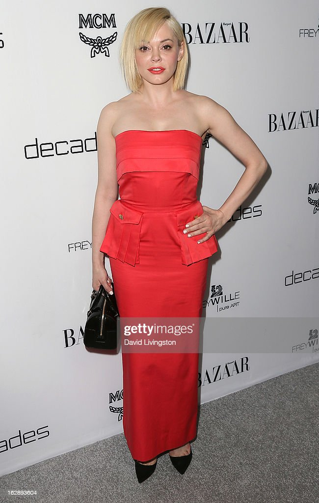 Actress <a gi-track='captionPersonalityLinkClicked' href=/galleries/search?phrase=Rose+McGowan&family=editorial&specificpeople=206451 ng-click='$event.stopPropagation()'>Rose McGowan</a> attends the Harper's BAZAAR celebration of Cameron Silver and Christos Garkinos of Decades new Bravo series 'Dukes of Melrose' at The Terrace at Sunset Tower on February 28, 2013 in West Hollywood, California.