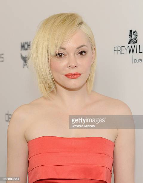 Actress Rose McGowan attends the Harper's BAZAAR celebration of the launch of Bravo TV's 'The Dukes of Melrose' starring Cameron Silver and Christos...