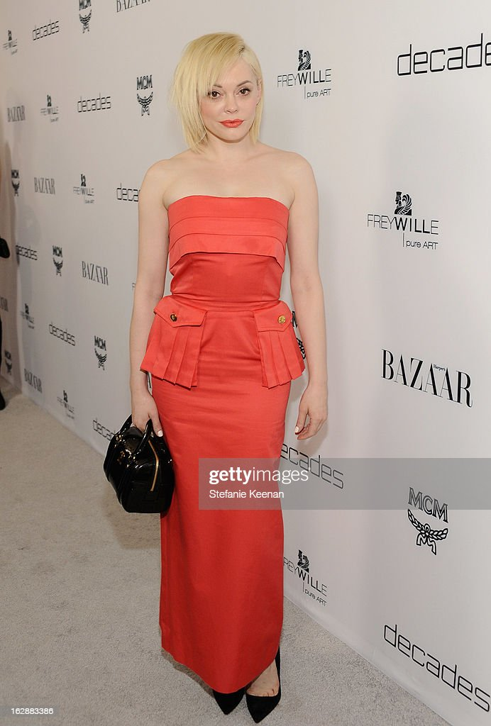 Actress <a gi-track='captionPersonalityLinkClicked' href=/galleries/search?phrase=Rose+McGowan&family=editorial&specificpeople=206451 ng-click='$event.stopPropagation()'>Rose McGowan</a> attends the Harper's BAZAAR celebration of the launch of Bravo TV's 'The Dukes of Melrose' starring Cameron Silver and Christos Garkinos at Sunset Tower on February 28, 2013 in West Hollywood, California.