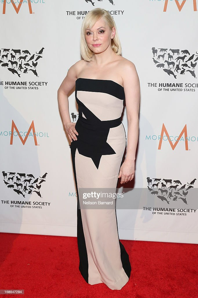 Actress <a gi-track='captionPersonalityLinkClicked' href=/galleries/search?phrase=Rose+McGowan&family=editorial&specificpeople=206451 ng-click='$event.stopPropagation()'>Rose McGowan</a> attends The Humane Society of the United States' To the Rescue! New York Gala at Cipriani 42nd Street on December 18, 2012 in New York City.