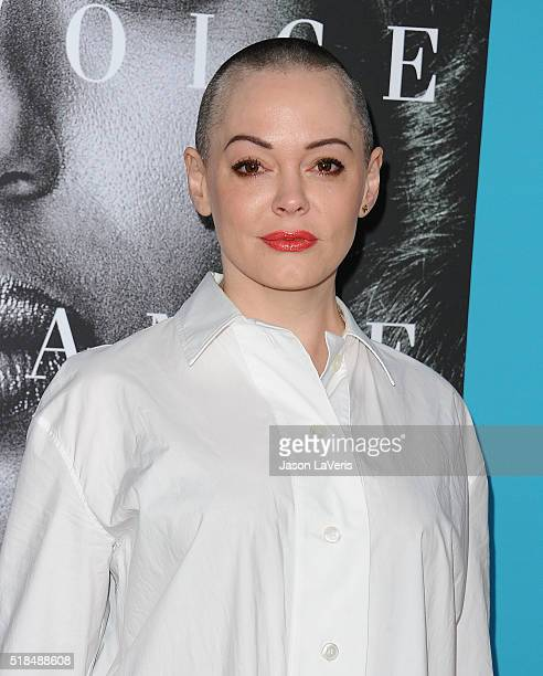 Actress Rose McGowan attends the premiere of 'Confirmation' at Paramount Theater on the Paramount Studios lot on March 31 2016 in Hollywood California