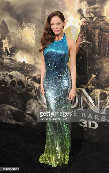 Actress Rose McGowan attends the world premiere of 'Conan The Barbarian' held at Regal Cinemas LA Live on August 11 2011 in Los Angeles California