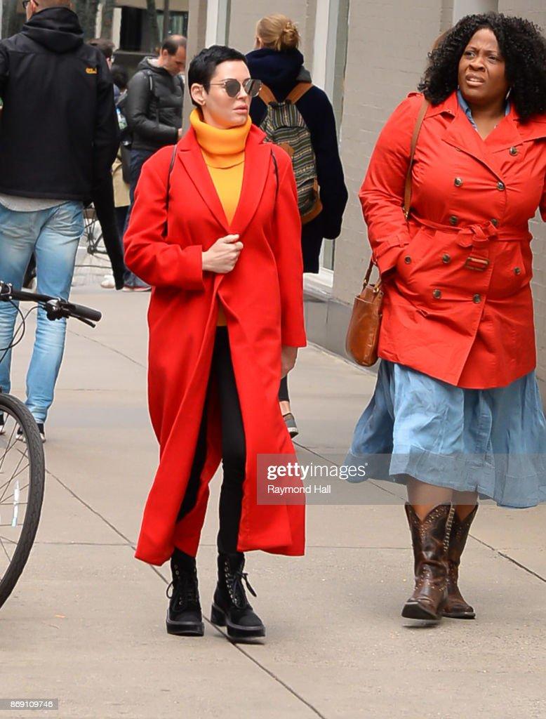 Actress Rose McGowan is seen walking Midtown on November 1, 2017 in New York City.