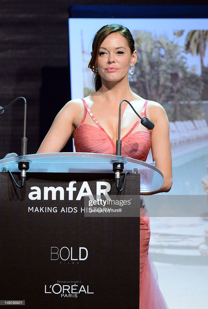 Actress <a gi-track='captionPersonalityLinkClicked' href=/galleries/search?phrase=Rose+McGowan&family=editorial&specificpeople=206451 ng-click='$event.stopPropagation()'>Rose McGowan</a> speaks at the 2012 amfAR's Cinema Against AIDS during the 65th Annual Cannes Film Festival at Hotel Du Cap on May 24, 2012 in Cap D'Antibes, France.