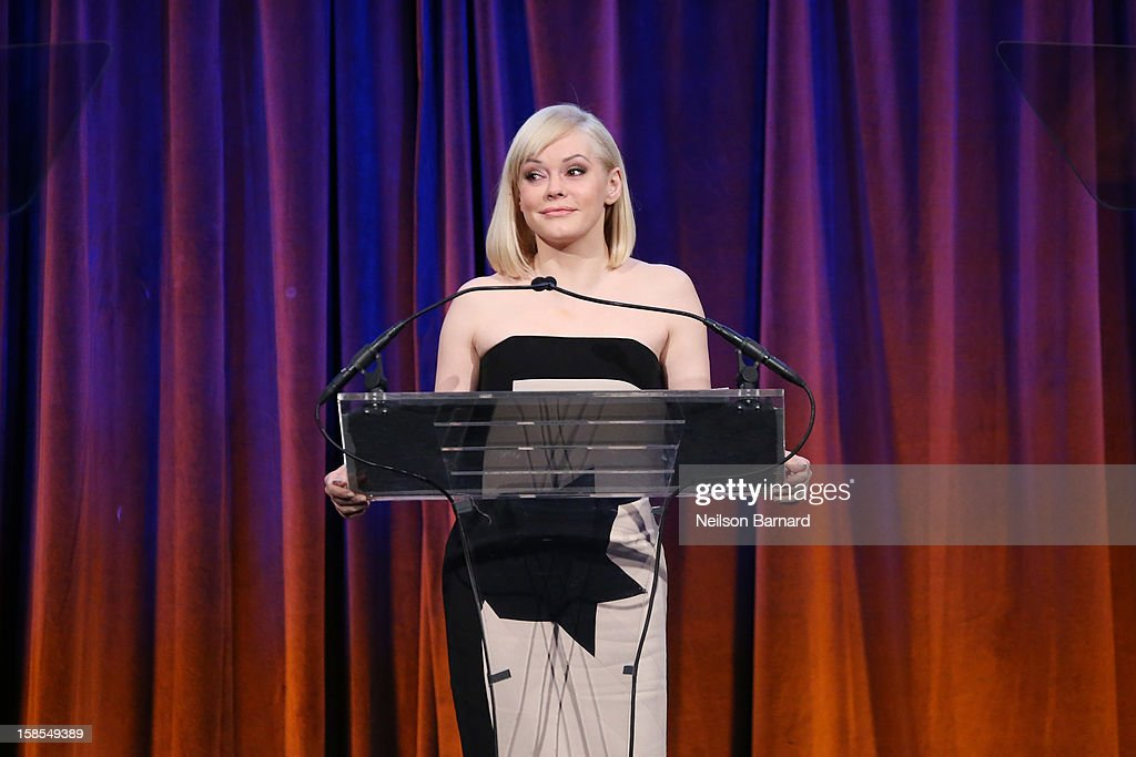 Actress <a gi-track='captionPersonalityLinkClicked' href=/galleries/search?phrase=Rose+McGowan&family=editorial&specificpeople=206451 ng-click='$event.stopPropagation()'>Rose McGowan</a> speaks on stage during The Humane Society of the United States' To the Rescue! New York Gala at Cipriani 42nd Street on December 18, 2012 in New York City.