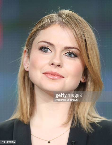 Actress Rose McIver listens onstage to a question from the media audience during the 'iZombie' panel as part of The CW 2015 Winter Television Critics...