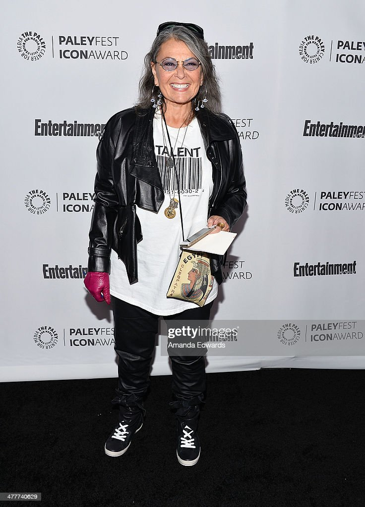 Actress <a gi-track='captionPersonalityLinkClicked' href=/galleries/search?phrase=Roseanne+Barr&family=editorial&specificpeople=228388 ng-click='$event.stopPropagation()'>Roseanne Barr</a> arrives at the 2014 Paleyfest Icon Award ceremony honoring Judd Apatow at The Paley Center for Media on March 10, 2014 in Beverly Hills, California.