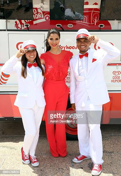 Actress Roselyn Sanchez acts as the Honorary Good Humor Woman to help launch the Miami leg of the Welcome to Joyhood tour at Bayfront Park on August...
