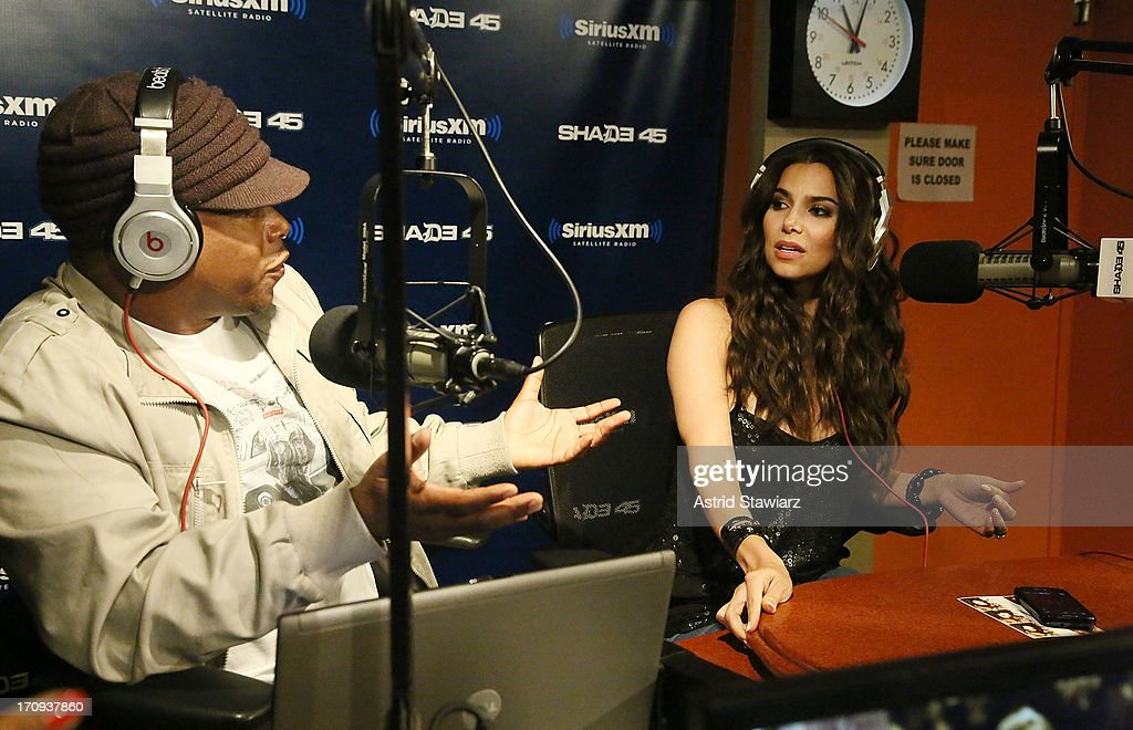 Actress <a gi-track='captionPersonalityLinkClicked' href=/galleries/search?phrase=Roselyn+Sanchez&family=editorial&specificpeople=202260 ng-click='$event.stopPropagation()'>Roselyn Sanchez</a> (right) and and SiriusXM host Sway (left) visit 'Sway in the Morning' on Eminem's Shade 45 channel' at SiriusXM Studios on June 20, 2013 in New York City.