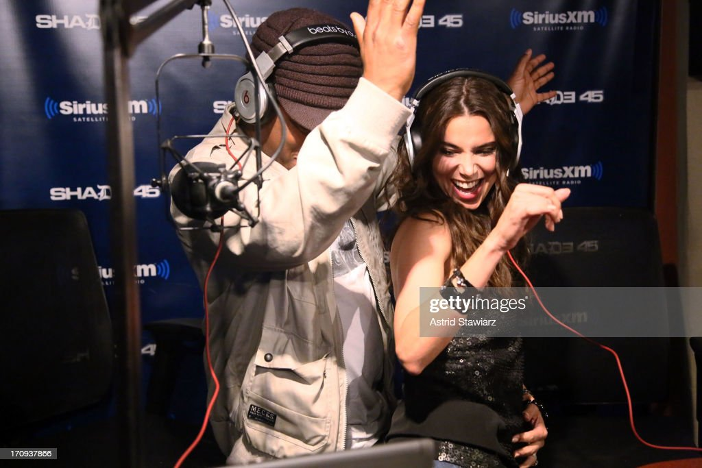 Actress Roselyn Sanchez (right) and and SiriusXM host Sway (left) visit 'Sway in the Morning' on Eminem's Shade 45 channel' at SiriusXM Studios on June 20, 2013 in New York City.