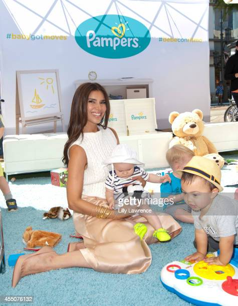 Actress Roselyn Sanchez interacts with the kids at her launch of 'BabyGotMoves' Campaign at The Grove on September 9 2014 in Los Angeles California