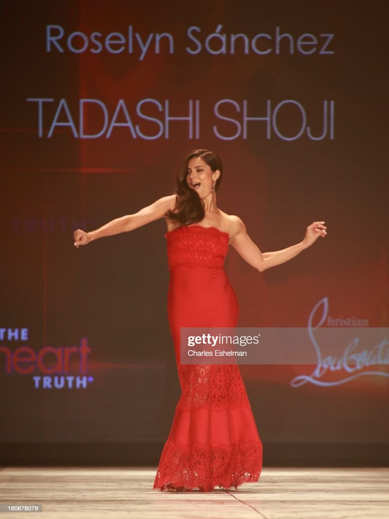 Actress <a gi-track='captionPersonalityLinkClicked' href=/galleries/search?phrase=Roselyn+Sanchez&family=editorial&specificpeople=202260 ng-click='$event.stopPropagation()'>Roselyn Sanchez</a> walks the runway at The Heart Truth's Red Dress Collection Fall 2013 Mercedes-Benz Fashion Show at 499 Seventh Avenue on February 6, 2013 in New York City.