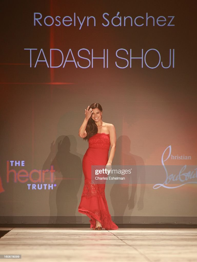 Actress Roselyn Sanchez walks the runway at The Heart Truth's Red Dress Collection Fall 2013 Mercedes-Benz Fashion Show at 499 Seventh Avenue on February 6, 2013 in New York City.