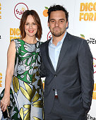 Actress Rosemarie DeWitt and actor Jake Johnson attend the premiere of 'Digging For Fire' at ArcLight Cinemas on August 13 2015 in Hollywood...