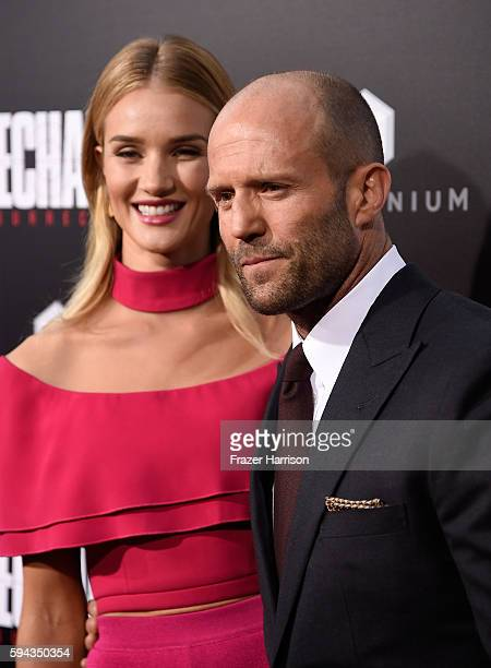 Actress Rosie HuntingtonWhiteley and actor Jason Statham attend the premiere of Summit Entertainment's 'Mechanic Resurrection' at ArcLight Hollywood...